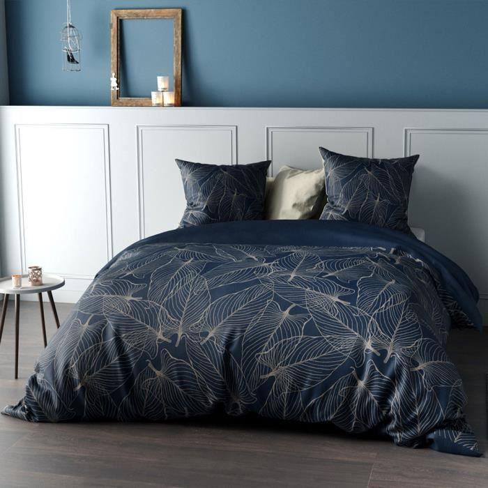 Parure de couette réversible en Percale de coton Feuille (Bleu Foncé - 200 x 200 cm)
