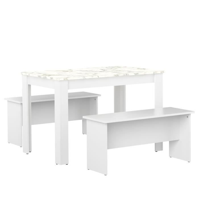 Table et bancs NICE Blanc et Marbre 110 X 70