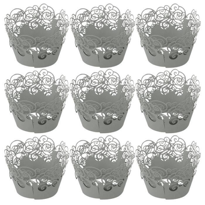 60pcs Cupcake Wrappers Cake évider modèle résistance à haute température pour le gâteau (gris clair) GATEAU PATISSIER