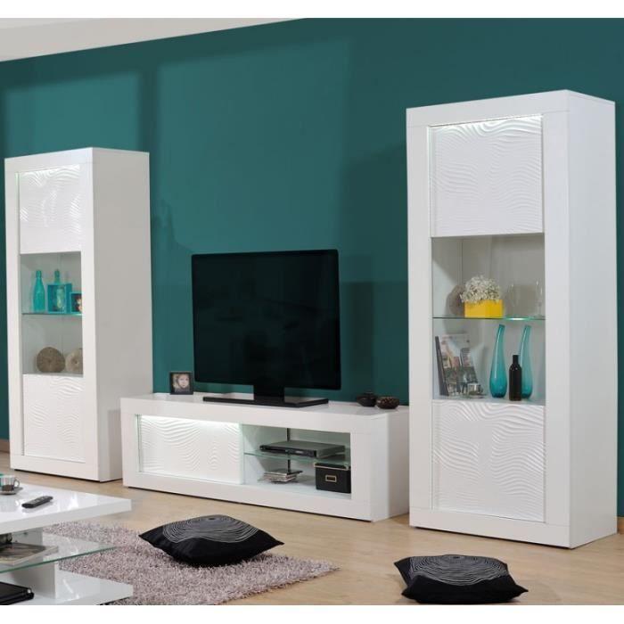 Composition TV Laqué Blanc à LEDs - MARKS - L 330 x l 45 x H 190
