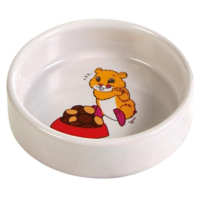 TRIXIE Ecuelle céramique avec motif hamster 90 ml/ø 8 cm pour rongeurs