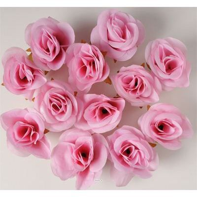 Tetes de rose artificielle x 24 rose tendre d 4 achat for Rose artificielle