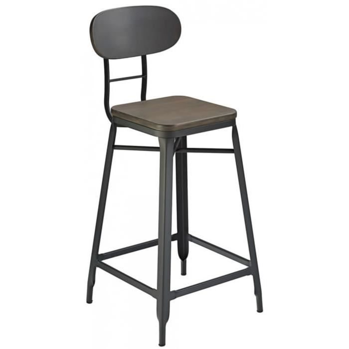 fapone farm style maison cuisine petit tabouret de bar noir et cerise achat vente tabouret. Black Bedroom Furniture Sets. Home Design Ideas
