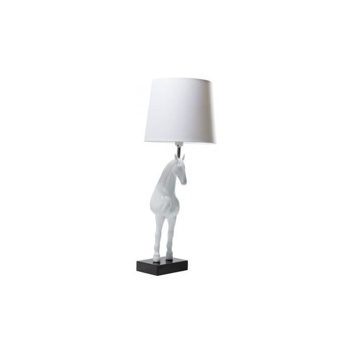 Lampe de table standing horse blanche kare design achat for Lampe de table blanche