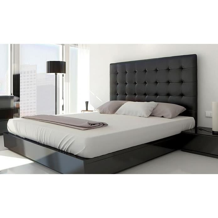 t te de lit capitonn e 160 noir achat vente t te de lit t te de lit capitonn e 160 cdiscount. Black Bedroom Furniture Sets. Home Design Ideas