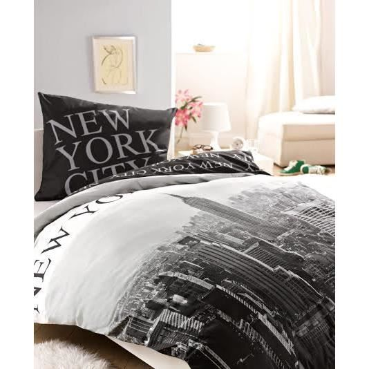 new york nyc linge de lit housse de couette taie achat vente pack linge de lit cdiscount. Black Bedroom Furniture Sets. Home Design Ideas