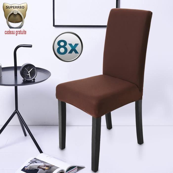 housse de chaise marron 8 pieces stretch couverture de chaise extensible housse decor pour chaise haute de salle a manger l hotel