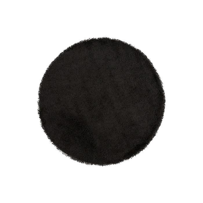 tapis shaggy rond 160 noir round achat vente tapis cdiscount. Black Bedroom Furniture Sets. Home Design Ideas