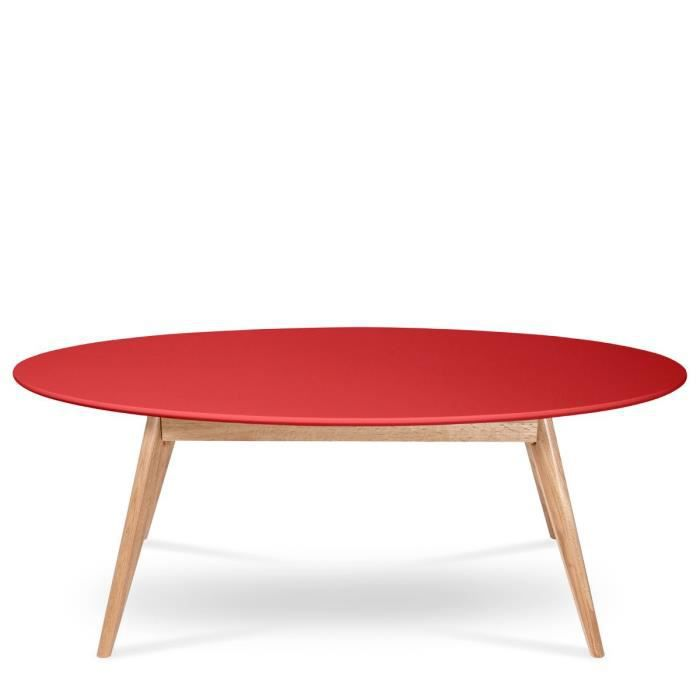 table basse ovale design scandinave skoll couleur rouge achat vente table basse table basse. Black Bedroom Furniture Sets. Home Design Ideas
