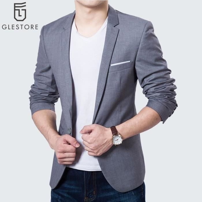 glestore costume homme blazer homme gris gris achat. Black Bedroom Furniture Sets. Home Design Ideas