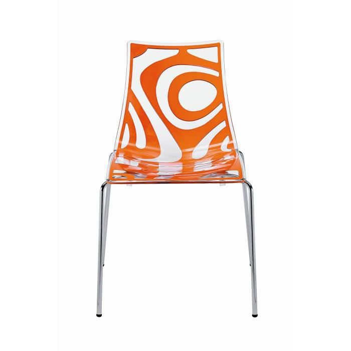 Chaise design transparente et orange wave a l achat vente chaise alumi - Chaise transparente discount ...
