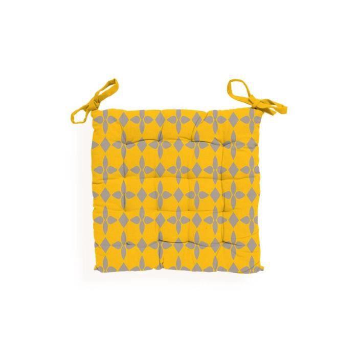 COUSSIN DE CHAISE  Dessus de chaise capitonné en coton DAMIER jaune.
