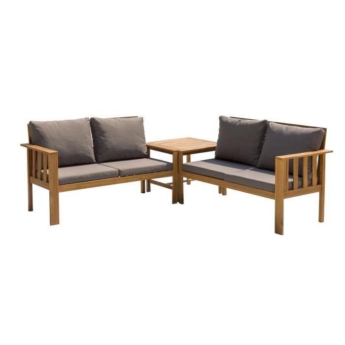 Salon de jardin en bois d\'acacia 4 personnes KITO Bois et ...