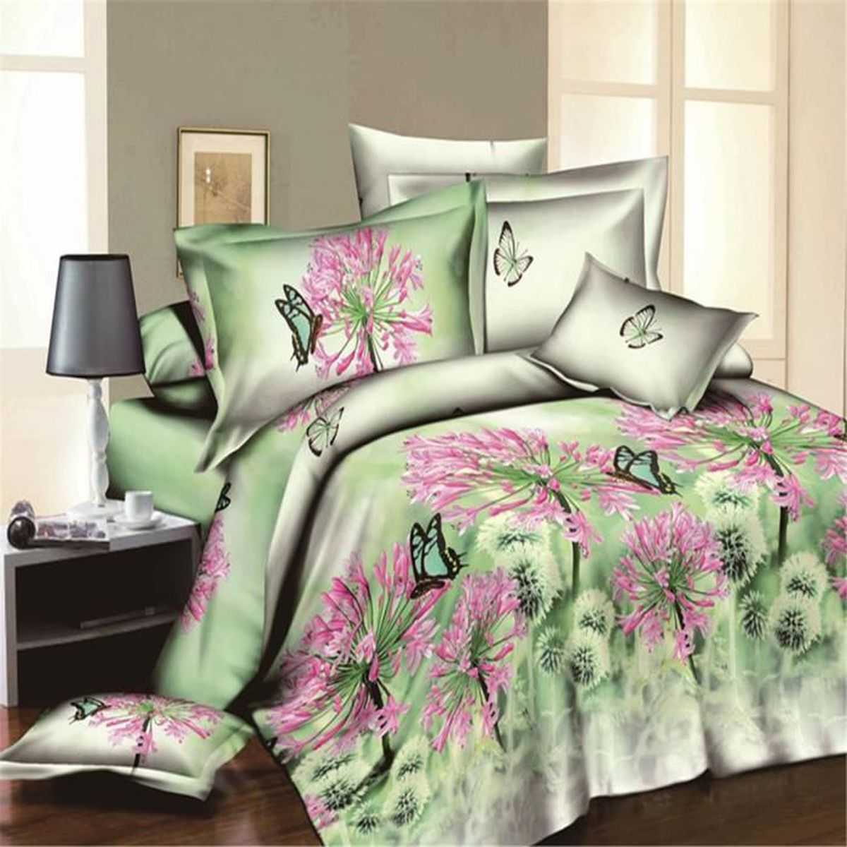 parure de couette parure de lit belle fleur rose et le papillon motif 1 housse de couette. Black Bedroom Furniture Sets. Home Design Ideas