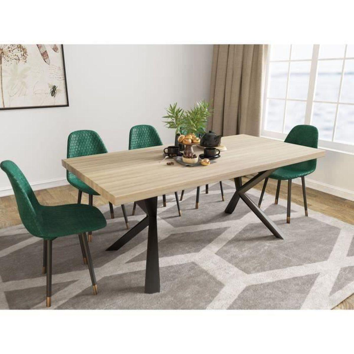 Table à manger design en bois et métal 6 personnes KINGA - Achat