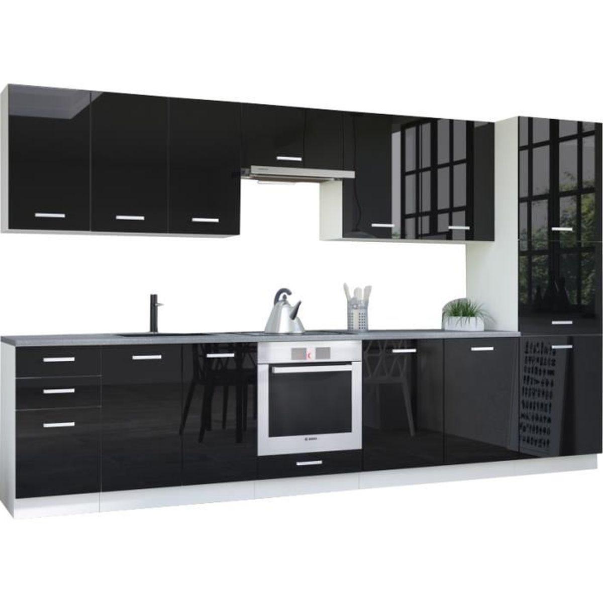 Meuble Bas De Cuisine Noir Laqué ensemble cuisine complète ultra moderne 360 cm coloris blanc