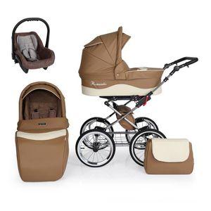PACK VOYAGE Poussette luxe cuir écologique beige et marron 3 e