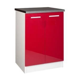 ELEMENTS BAS Meuble cuisine bas 60 cm 2 portes TARA rouge