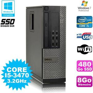 UNITÉ CENTRALE + ÉCRAN PC Dell 7010 SFF Core I5-3470 3.2GHz 8Go 480Go SSD