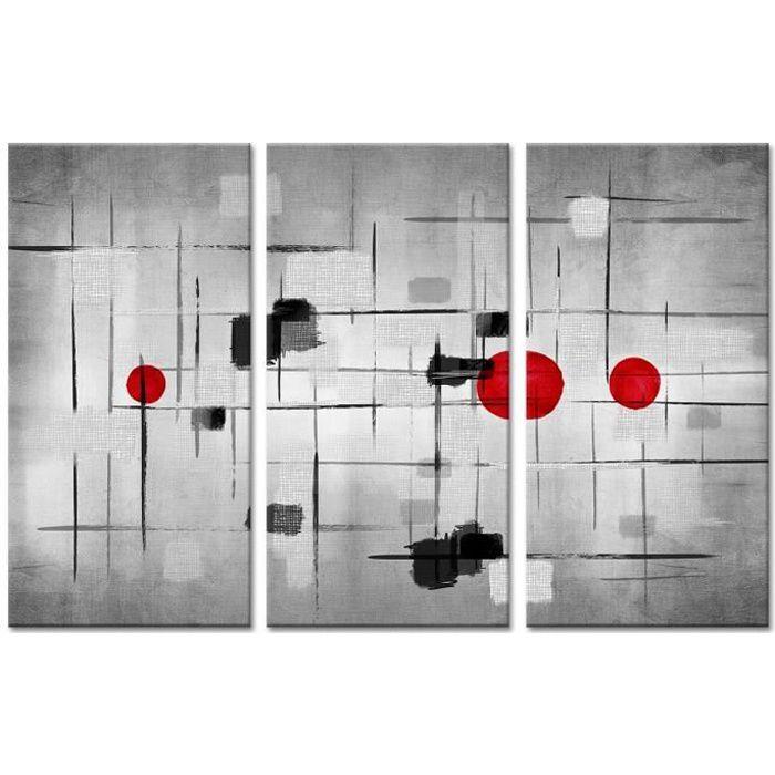 TABLEAU - TOILE Tableau Déco Triptyque Art Moderne Epuré - 120x80