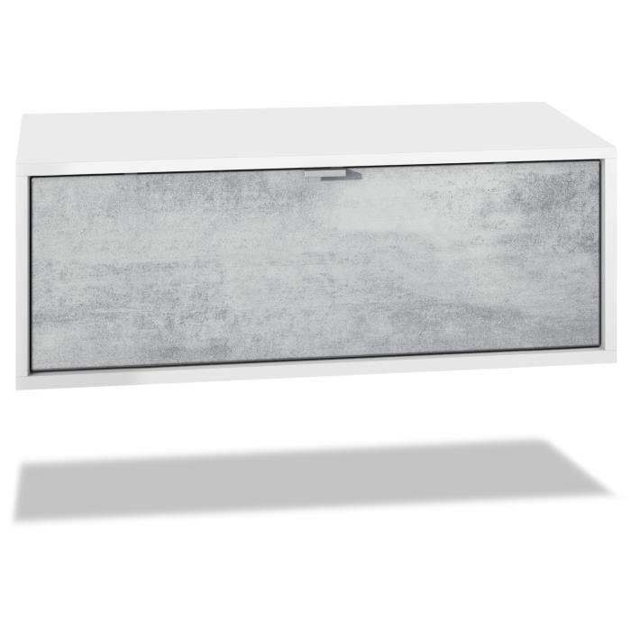 Meuble TV Lana 140 armoire murale lowboard 140 x 29 x 37 cm, caisson en blanc mat, façades en Aspect Béton Oxyde