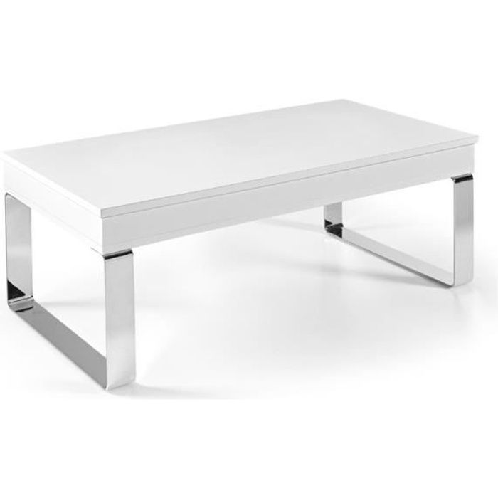 TABLE BASSE RELEVABLE LUGA - Pied chromé BLANC