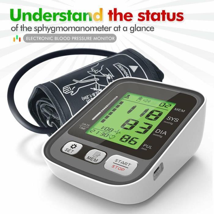 Sphygmomanomètre,Tensiomètre,Machine automatique BP de moniteur de pression artérielle numérique de bras,Rétroéclairage tricolore