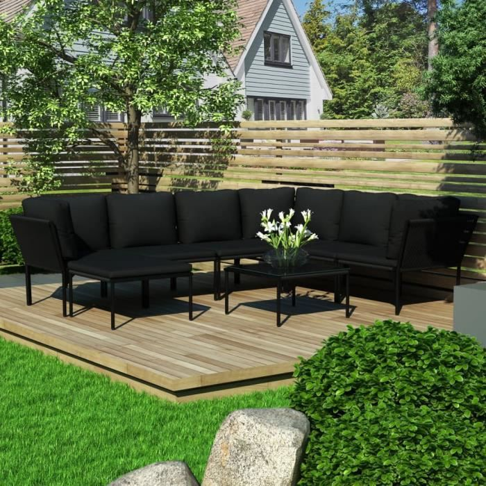 Ensembles de meubles d'extérieur Ensemble repas de jardin Salon de jardin 8 pcs - avec coussins Noir PVC