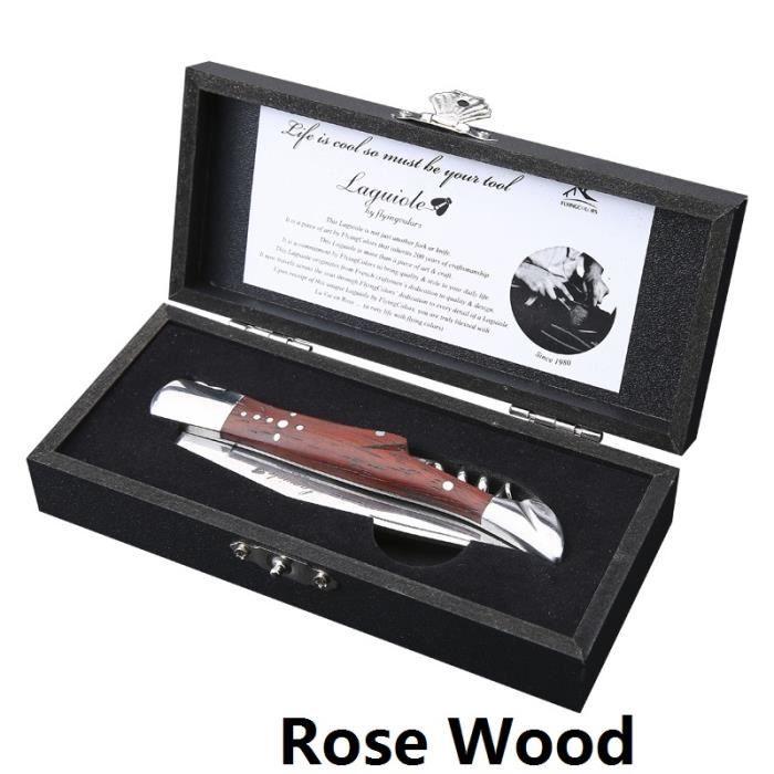 Couteau à vin de Style Laguiole tire-bouchon en acier inoxydable ouvre-bouteille de vin man - Modèle: Rosewood Handle - WMKPQA11209
