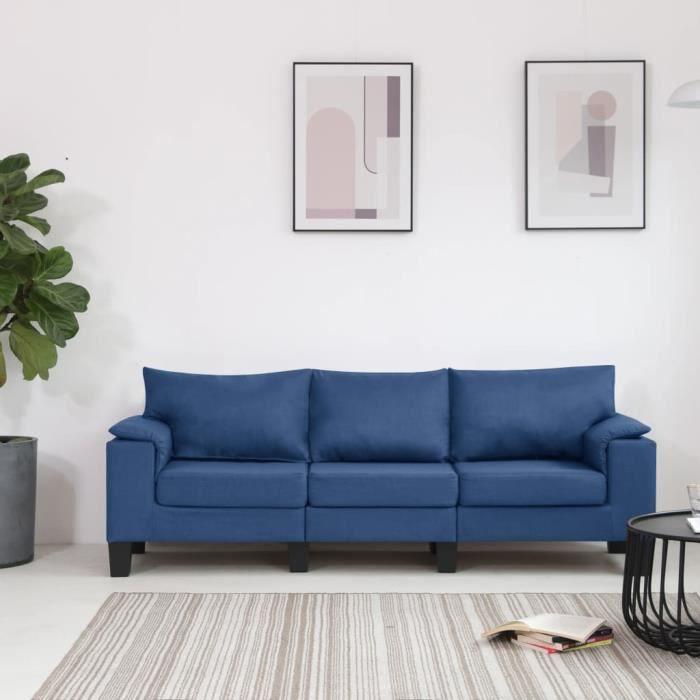 Fort-7574Magnifique Moderne Canapé droit fixe 3 places Canapé de relaxation Confortable & Professionnel - clic clac Sofa Bleu Tissu