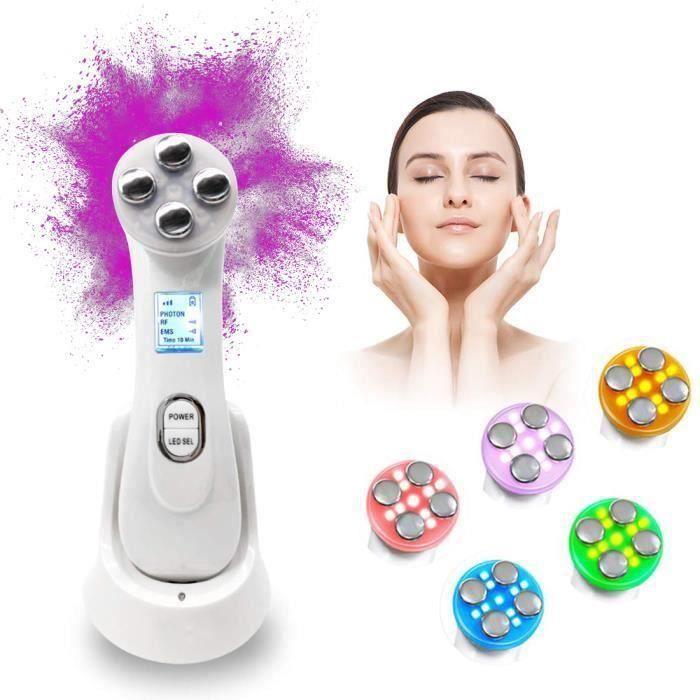 Appareil à Ultrason Visage, LED Visage Anti Age Luminotherapie Appareil ION Photon Soins de la Peau pour le Visage