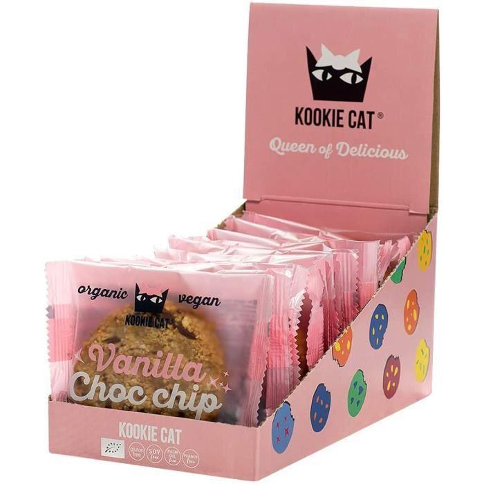 Kookie Cat Biscuits Végétaliens aux Pépites de Chocolat à la Vanille Emballés Individuellement, Sans Gluten, Sans Soja, Bio et Organ