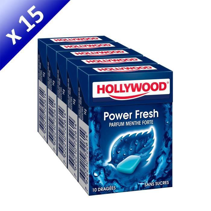 [LOT DE 15] Hollywood Powerfresh chewing-gum menthe forte sans sucres 60 dragées