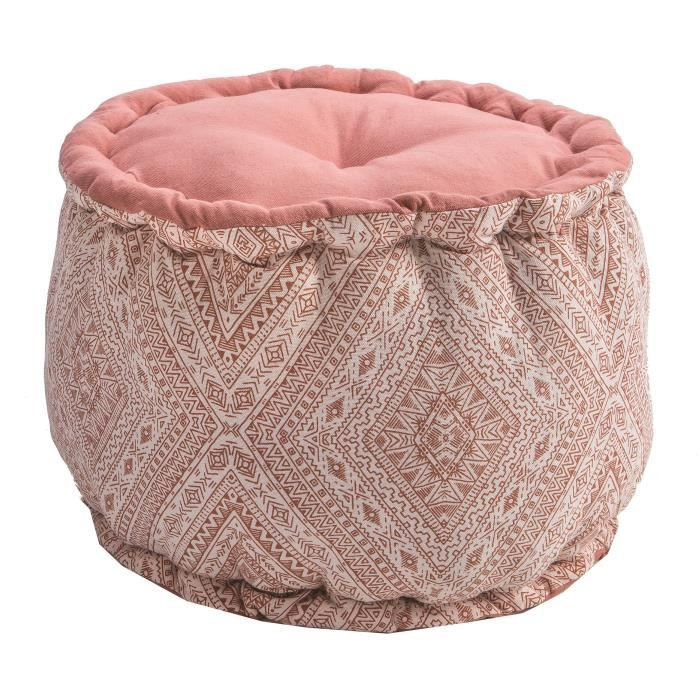 DEKO & CO - Pouf rond - Bloom - Ø40x30cm - Motifs