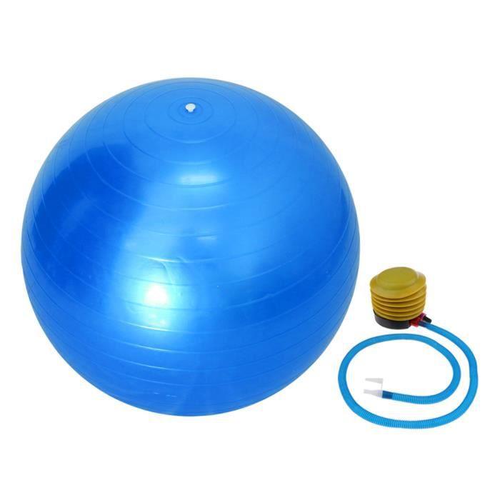 Ballon de Yoga 55 cm Avec Pompe Anti-éclatement Exercice Équilibre Séance d'Entraînement Bleu