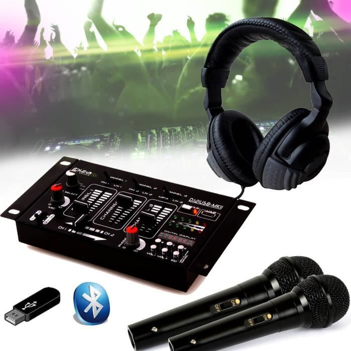 Kit Table de Mixage DJ21 USB Bluetooth + Casque SONO DJ + 2 Micros