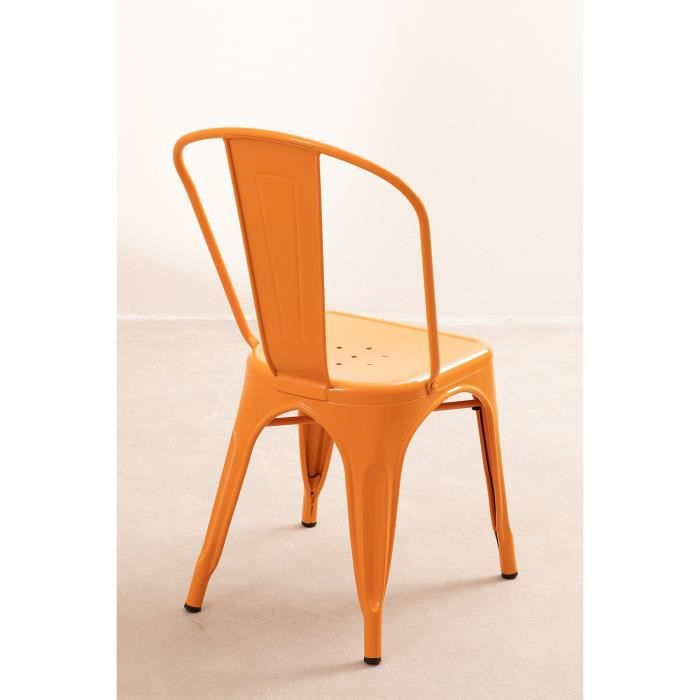Lot de 4 Chaises design industriel LIX Orange Safran