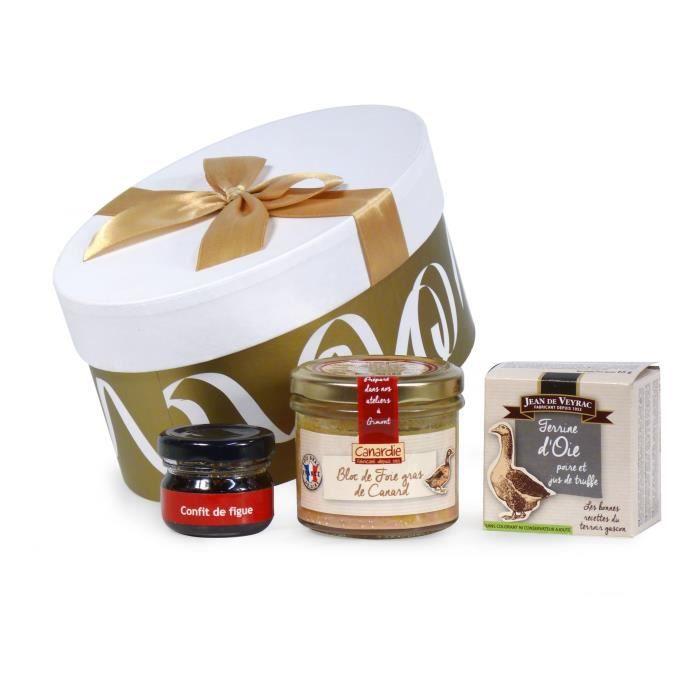 Coffret cadeau -Plaisir d'offrir- contient 3 produits de terroir dont un bloc de foie gras de Canard