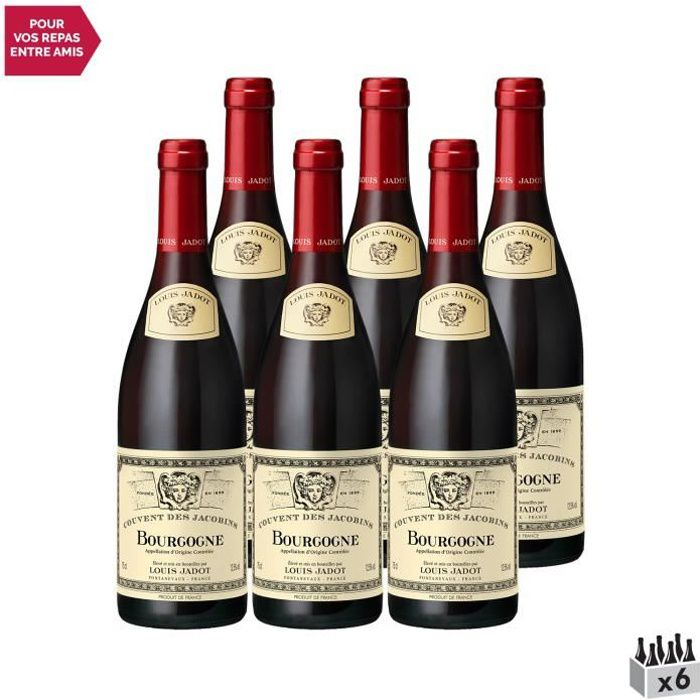Bourgogne Couvent des Jacobins Rouge 2019 - Lot de 6x75cl - Louis Jadot - Vin AOC Rouge de Bourgogne - Cépage Pinot Noir