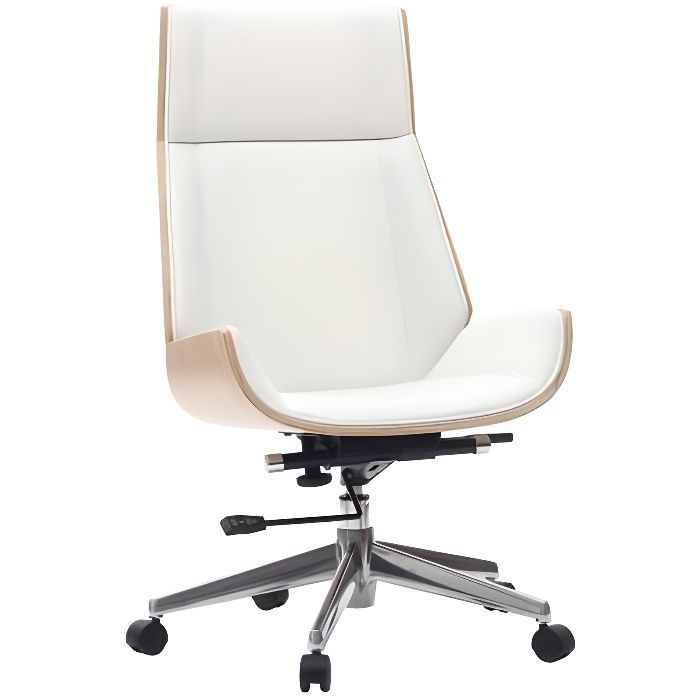 Miliboo - Fauteuil de bureau design bois clair et blanc CURVED