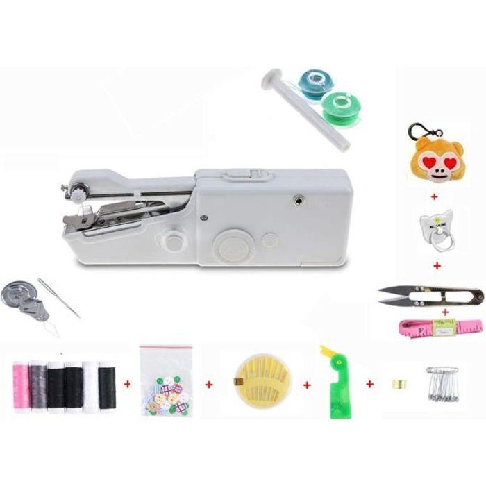 Machine à Coudre portative, Mini Machine à Coudre Portable Manuelle Electrique Machine à Coudre DIY Débutant Blanc