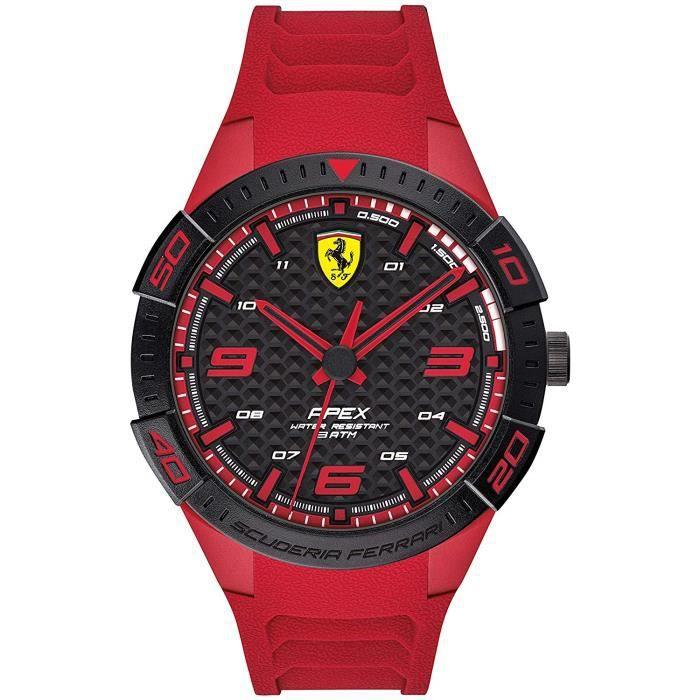 Scuderia Ferrari Homme Analogique Quartz Montre avec Bracelet en Silicone 0830664 7660