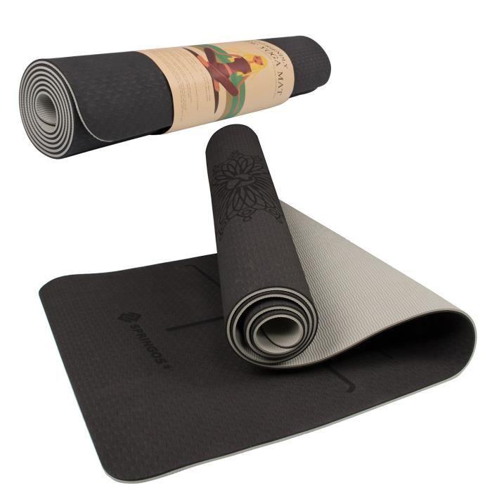 SPRINGOS® Tapis de yoga Tapis de fitness Tapis de gymnastique Tapis de sport Pilates Tapis de sol - noir/gris