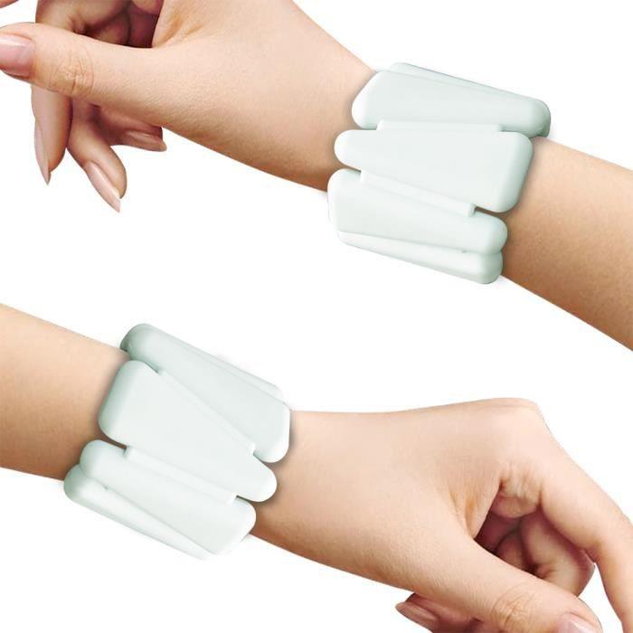 Bracelet poids ajustable de la cheville et du poignet Bracelet de pondération portable -Blanc