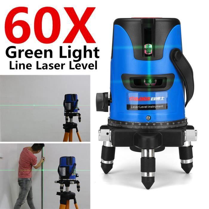 TEMPSA Niveau Laser 360° Vert 60X Auto Nivellement 5 lignes Avertissement Sonore Professionnel Mesure 220v
