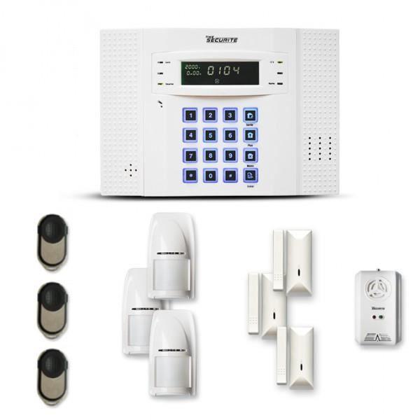 Alarme maison sans fil DNB 3 à 4 pièces mouvement + intrusion + détecteur gaz - Compatible Box / GSM