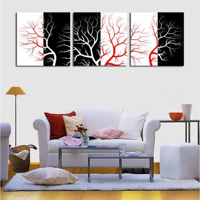 3pcs Abstrait Peinture Murale Mode Rouge Noir Blanc Arbre