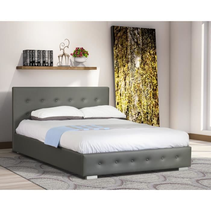 lit adulte design gris capitonn igor 140x200 cm avec sommier meuble en simili cuir id al pour. Black Bedroom Furniture Sets. Home Design Ideas