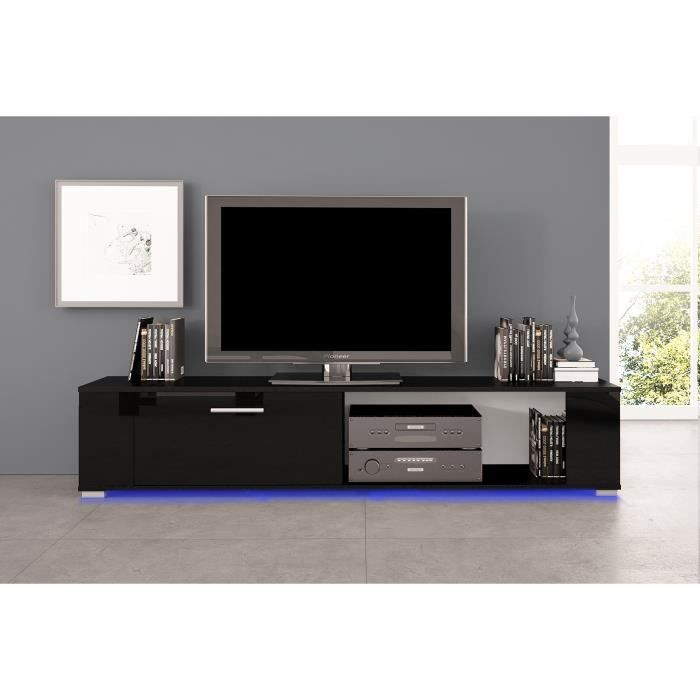 meuble tv orkus led noir mat front noir brillant achat vente meuble tv meuble tv orkus. Black Bedroom Furniture Sets. Home Design Ideas