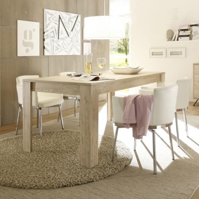 Table de salle à manger couleur bois moderne PLUME L. 180 x P. 90 x H. 79  cm L 180 x P 90 x H 79 cm Beige